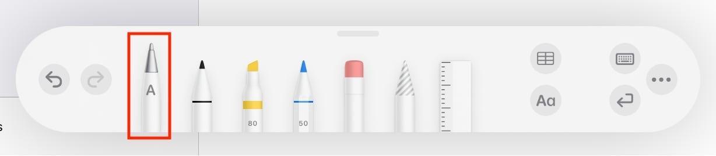 La barra de herramientas de marcado en Notes tiene una nueva herramienta de escritura a mano para la entrada de texto.