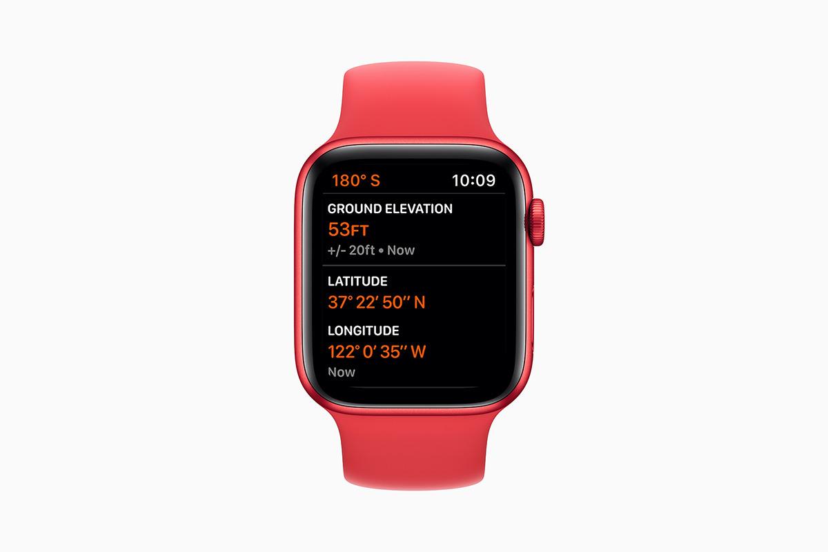 Nuevos datos de altímetro en un PRODUCTO (ROJO) Apple Watch Serie 6.  Crédito: Apple