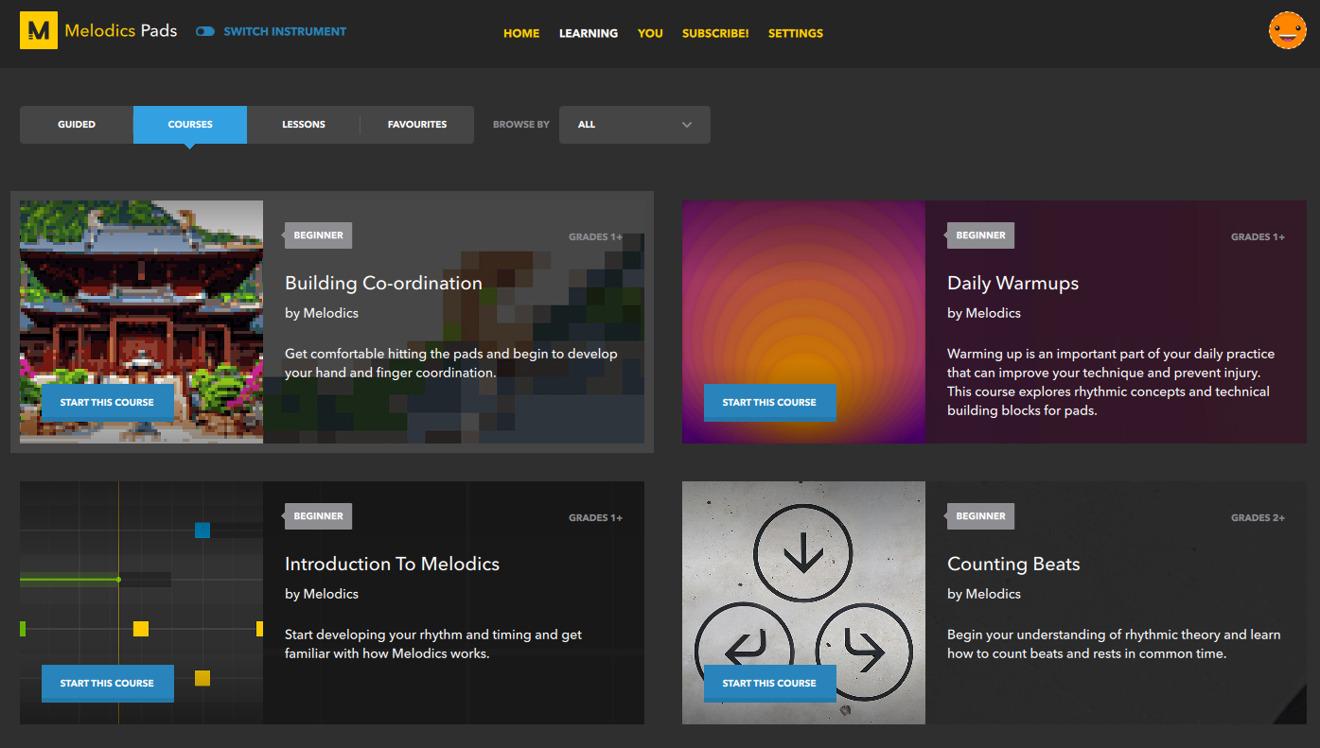 Una muestra de algunas de las lecciones disponibles para los usuarios de Melodics