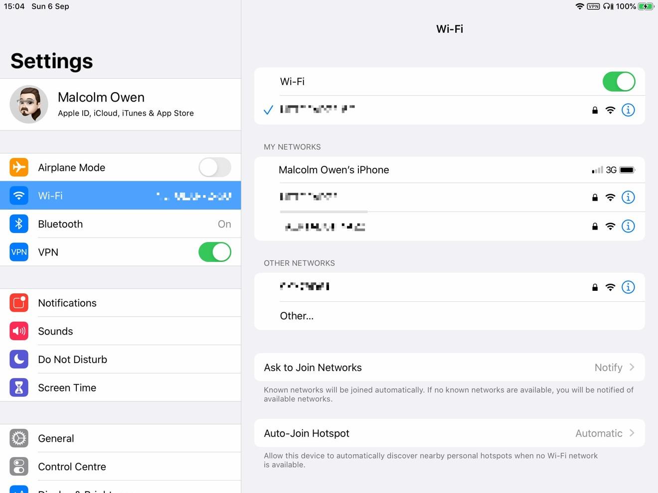 Cómo aparece un punto de acceso personal en iPadOS.