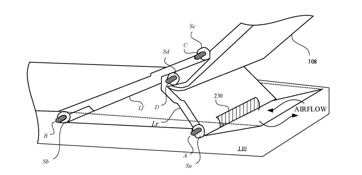 Un ejemplo de un diseño de bisagra, que puede ayudar a promover un mejor flujo de aire.