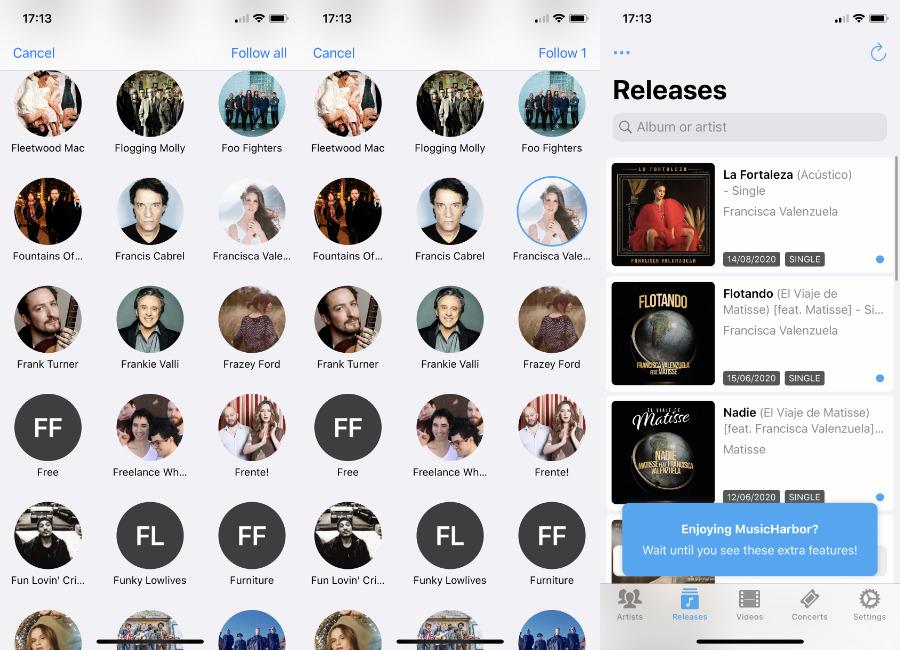 La aplicación de terceros MusicHarbor puede importar todos los artistas de sus listas de reproducción y luego avisarle de los últimos lanzamientos de cualquiera que usted designe.