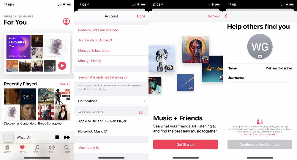 Díganos que podría encontrar esto por casualidad.  Toque el icono de su perfil en la parte superior derecha de la Apple Pantalla de música para comenzar a compartir música con amigos.