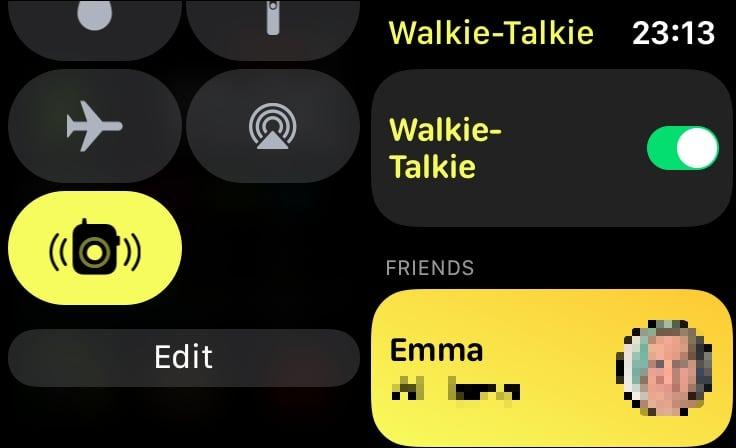 La palanca de encendido y apagado y el botón Centro de control para habilitar y deshabilitar Walkie-Talkie en el Apple Watch