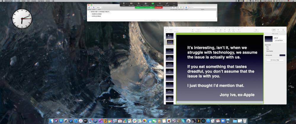 Compartir solo una parte de la pantalla (el área delimitada por el verde) en Zoom significa que no perderá toda la pantalla cuando desee iniciar Keynote