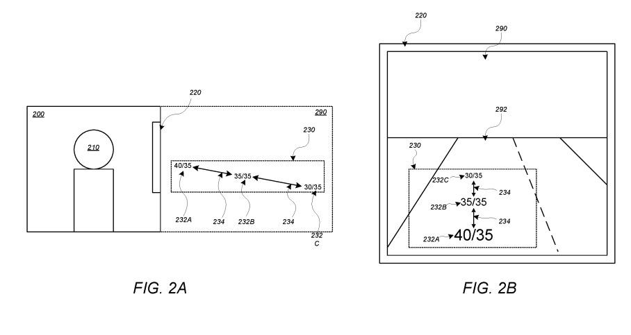 Una vista AR en pantalla podría ofrecer notificaciones de velocidad en el parabrisas de Apple Carro.