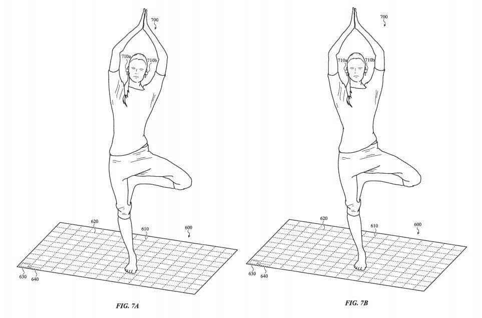 La patente menciona monitorear el equilibrio de un usuario que hace yoga.