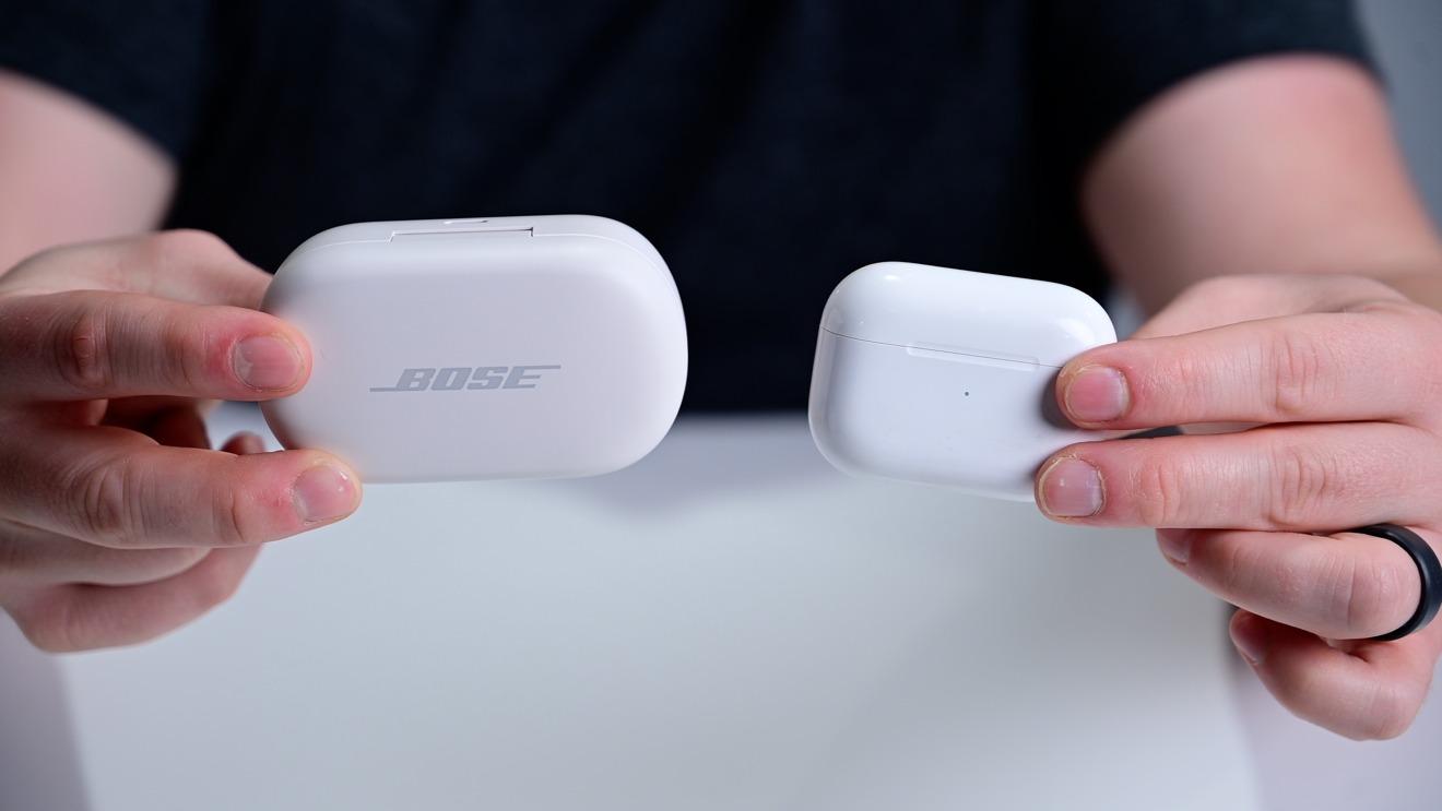 Estuche para auriculares Bose QuietComfort versus AirPods Pro
