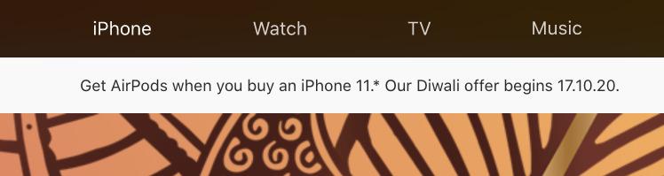 Un aviso sobre Applesitio web para la India informando de la oferta.