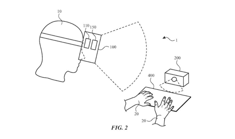 Junto con un dispositivo de rastreo, un auricular AR podría permitir el uso de cualquier superficie como teclado virtual.  Crédito: Apple