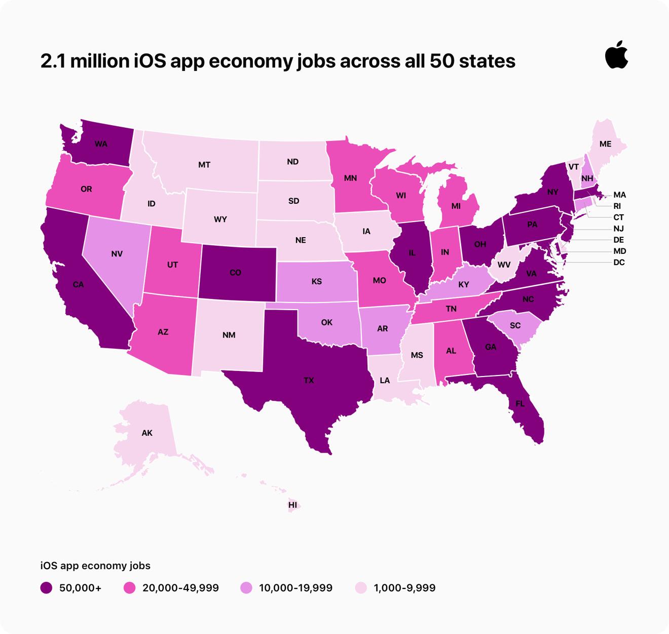 Empleos de economía de aplicaciones en los Estados Unidos - crédito de imagen Apple