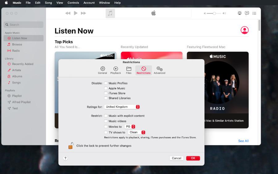 Tanto las aplicaciones para Mac como para iOS Apple La música incluye la capacidad de filtrar contenido explícito.