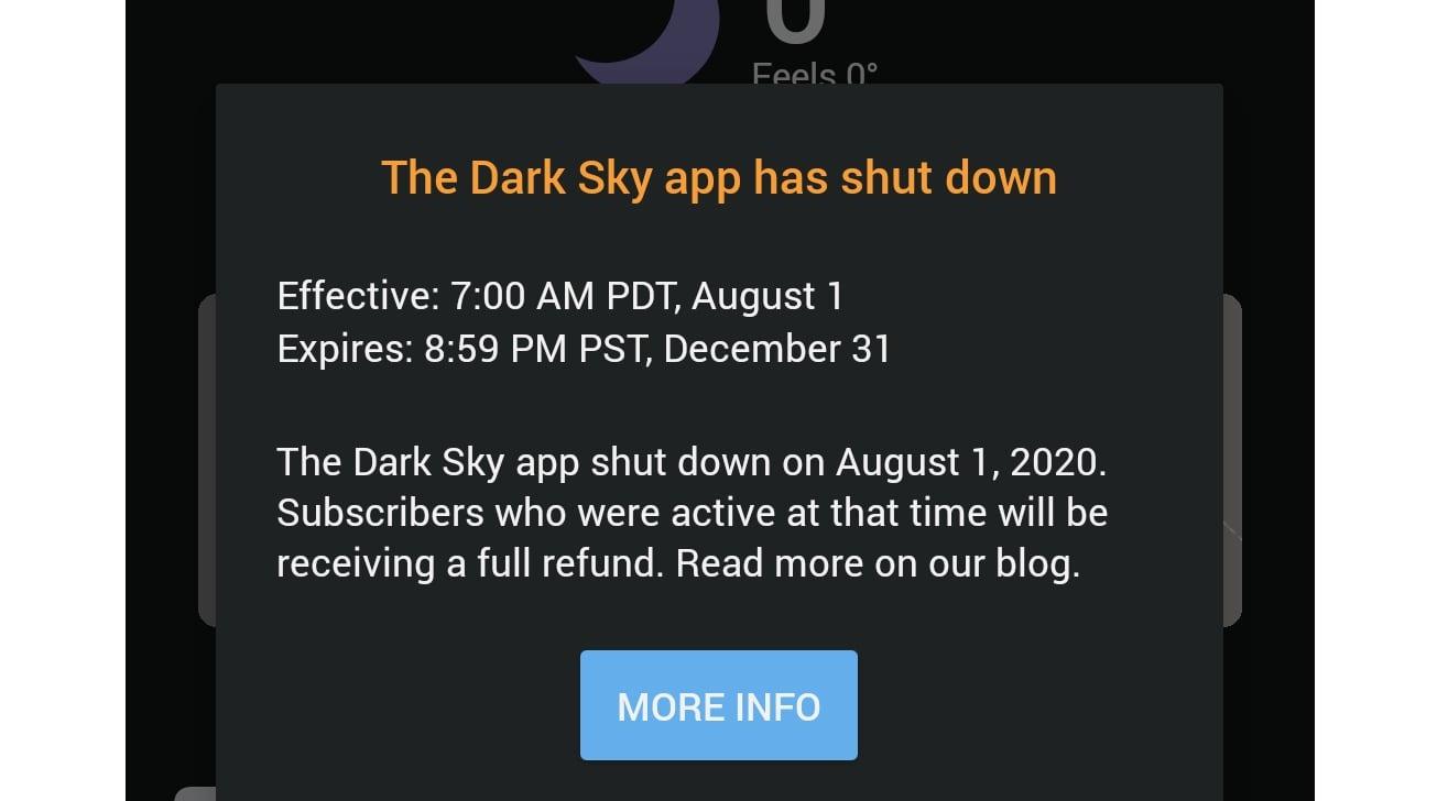 Mensaje de puesta de sol en la aplicación de Dark Sky para usuarios de Android.  (a través de 9to5Google)