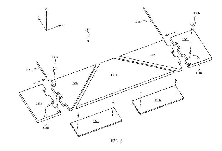 El mecanismo de bisagra plana.  Crédito: Apple/ USPTO