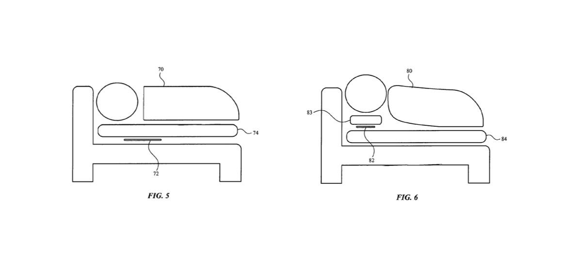 Ejemplos de dónde se pueden colocar los sensores de cama.  Crédito: Apple