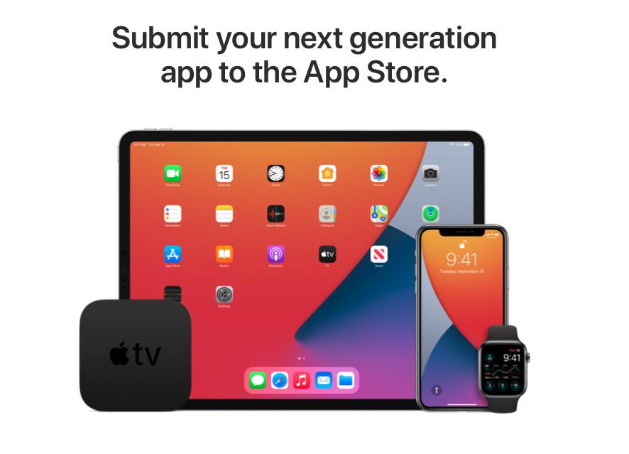 Apple  está promocionando cómo una App Store lleva a los desarrolladores a cinco plataformas diferentes