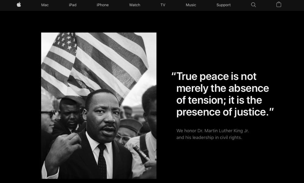 Apple  dedica su página de inicio a honrar al Dr. Martin Luther King Jr