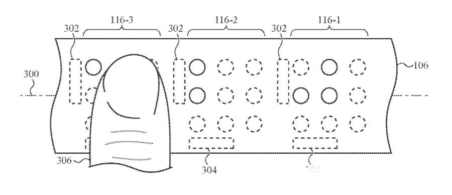 Detalle de la patente que muestra cómo un dedo puede leer protuberancias elevadas en una banda