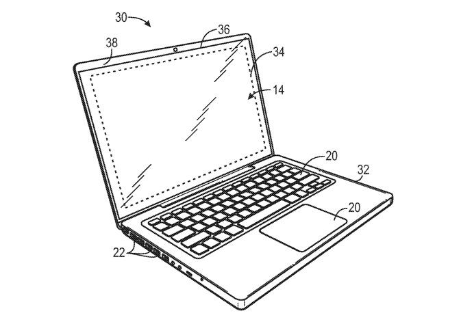 Detalle de la patente que muestra áreas de un bisel que el sistema propuesto puede ocultar