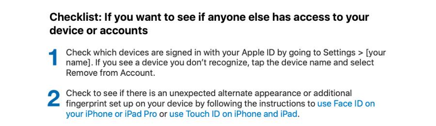 Extracto de una de las listas de verificación de privacidad de la guía