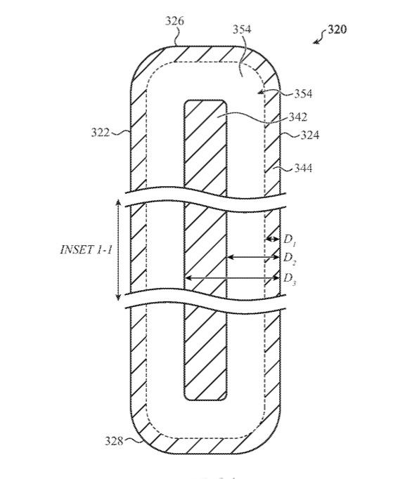 Detalle de la patente que muestra cómo las capas pueden significar que la tensión se puede desviar de donde rompería la pantalla