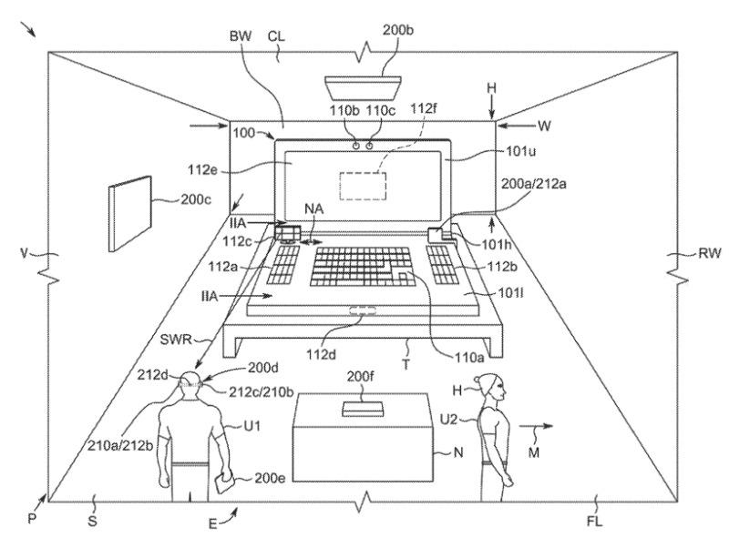 Detalle de la patente que muestra un MacBook Pro detectando su entorno.  Posiblemente no a escala.