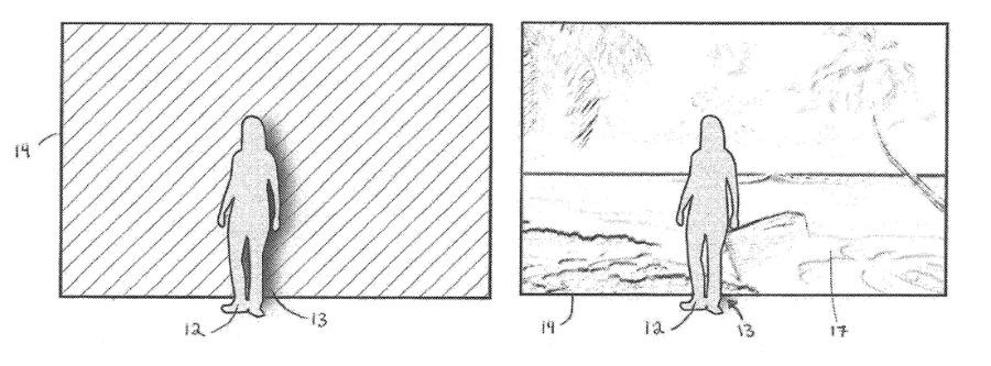 Izquierda: una figura se para frente a una pared de color sólido.  Derecha: el auricular reemplaza el fondo