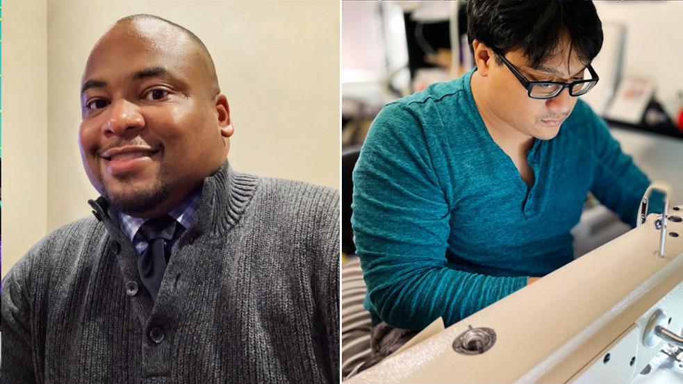 Apple  empleados Anthony Garrett-Leverett (L) y Joe Cayao, quienes colaboraron para suministrar 14, 000 máscaras al área de Detroit