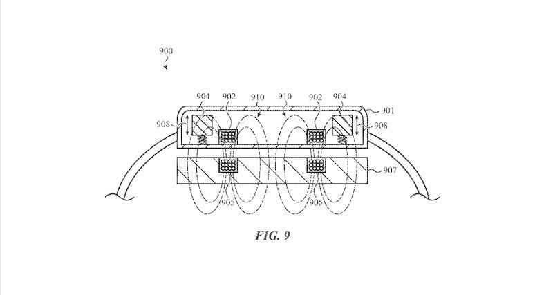 Una figura que representa el sistema háptico y de carga de doble propósito.  Crédito: Apple