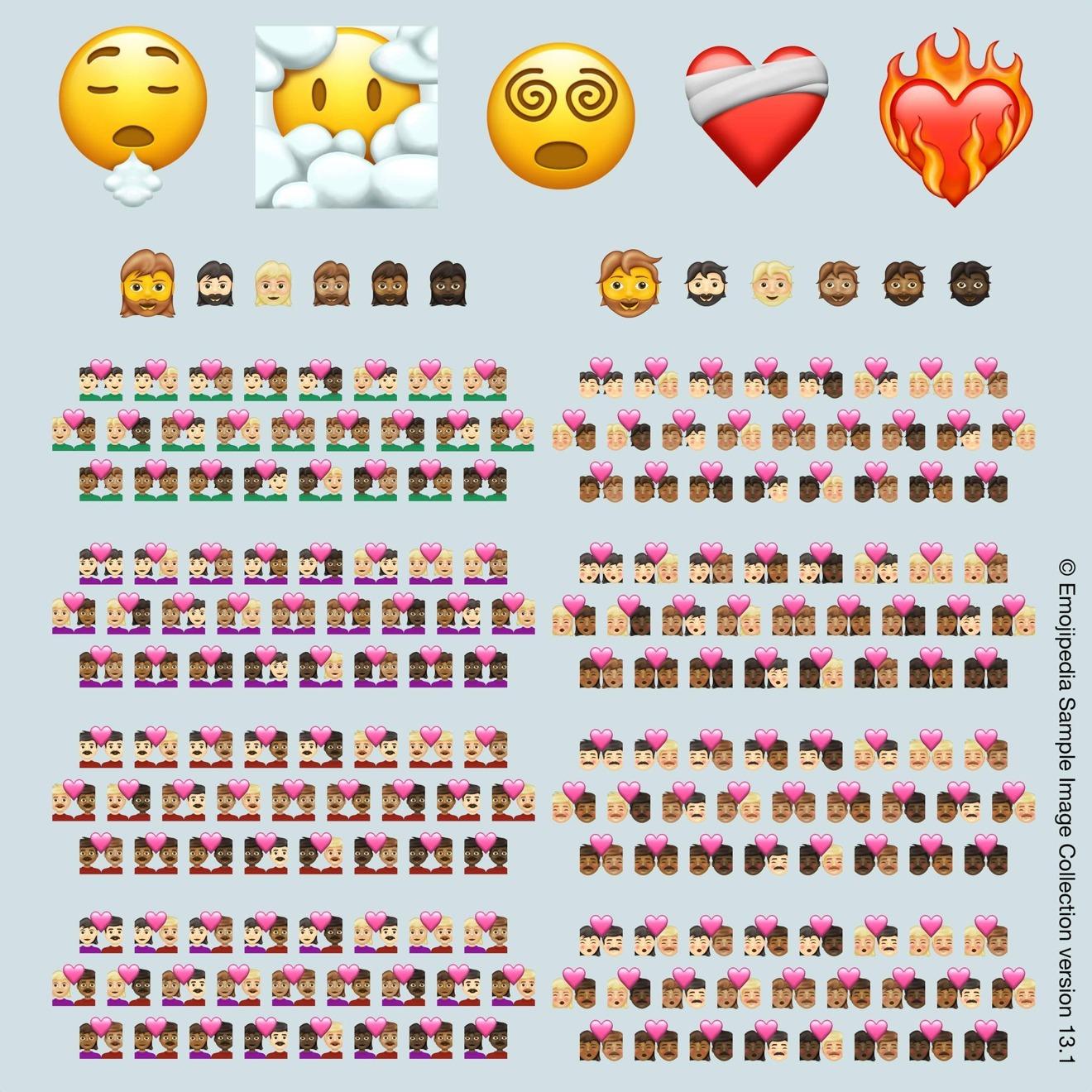 Las 217 combinaciones de emoji en Emoji 13.1 [via Emojipedia]