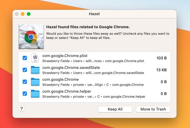 Las utilidades como Hazel eliminarán algunas Chrome archivos, pero incluso estos no obtendrán todo.