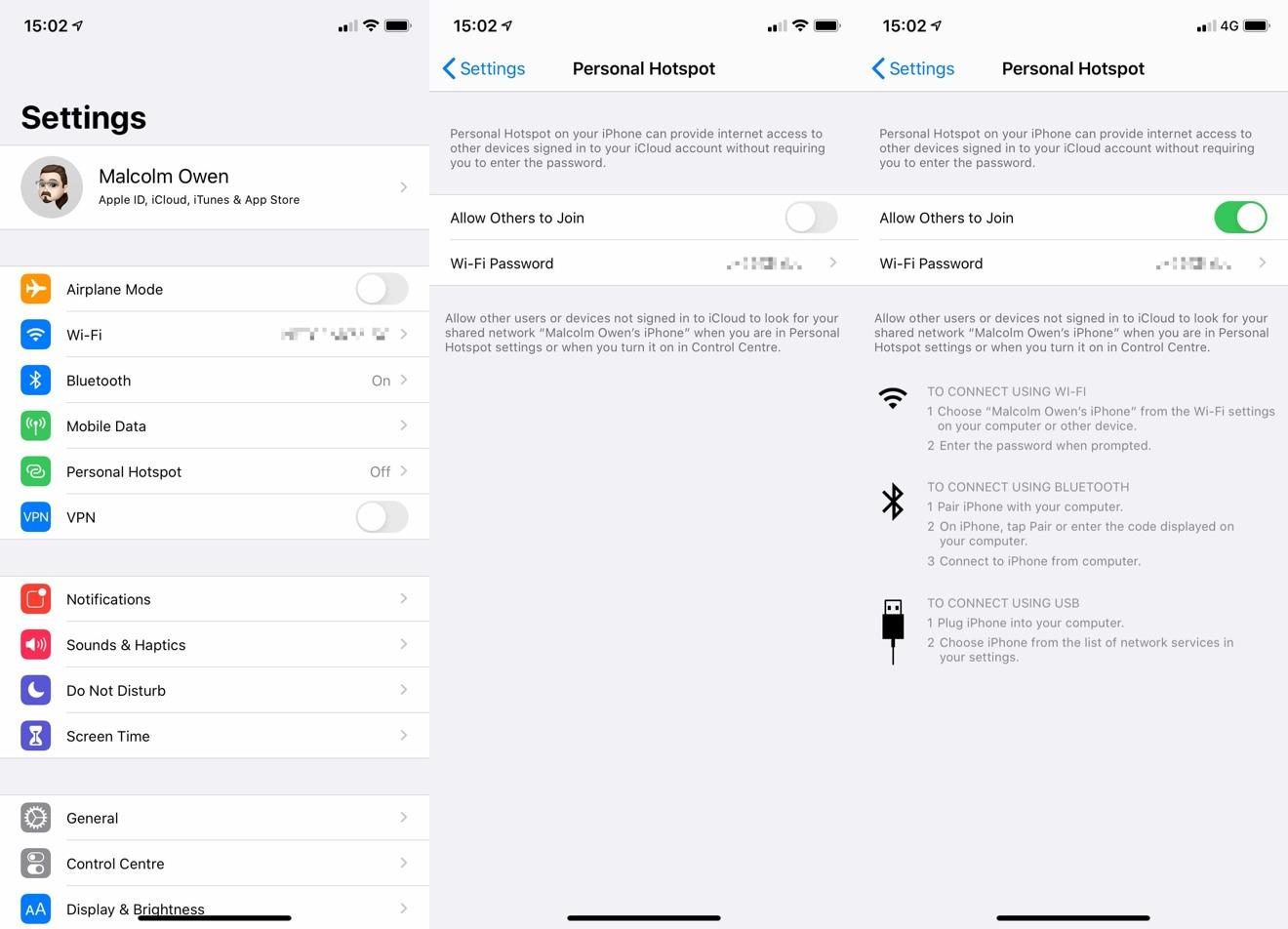 Habilitar el punto de acceso personal en iOS.
