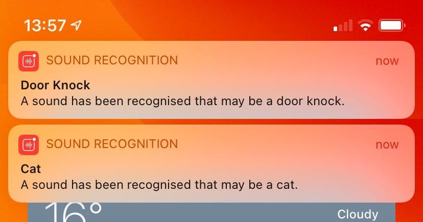 Ejemplos de alertas de reconocimiento de sonido