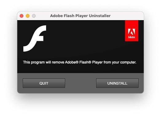 El desinstalador de Adobe Flash Player que se ejecuta en macOS.