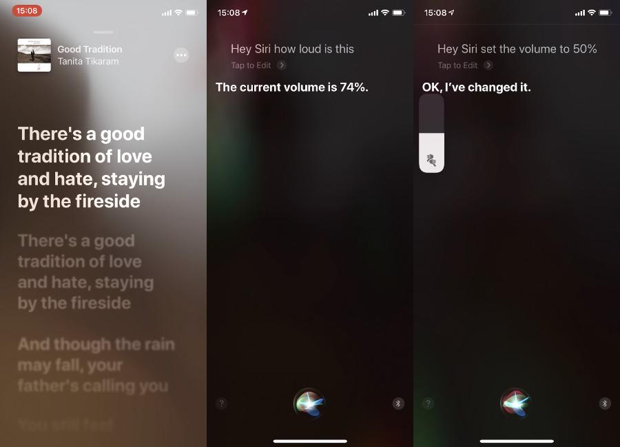 Cuando se reproduce algo, puedes preguntarle a Siri qué tan alto es o hacer que Siri cambie el volumen.