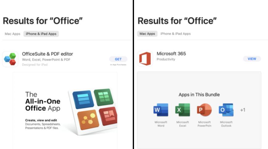 La búsqueda de la misma aplicación en diferentes filtros a veces puede obtener resultados diferentes
