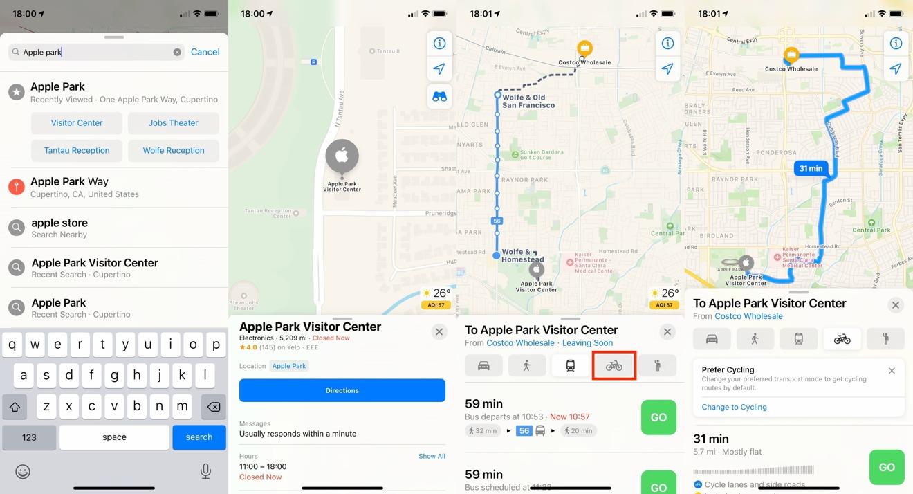 Cómo configurar direcciones de ciclismo en Apple Mapas en iOS 14
