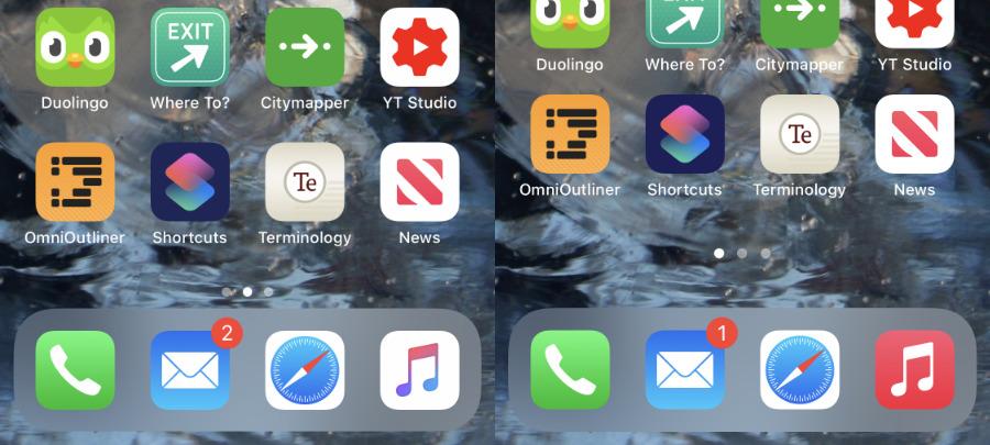 Izquierda: iOS 13.  Derecha: iOS 14.  El nuevo iOS ha comprimido filas de aplicaciones para dar un espacio en blanco más grande en la parte inferior de la pantalla.