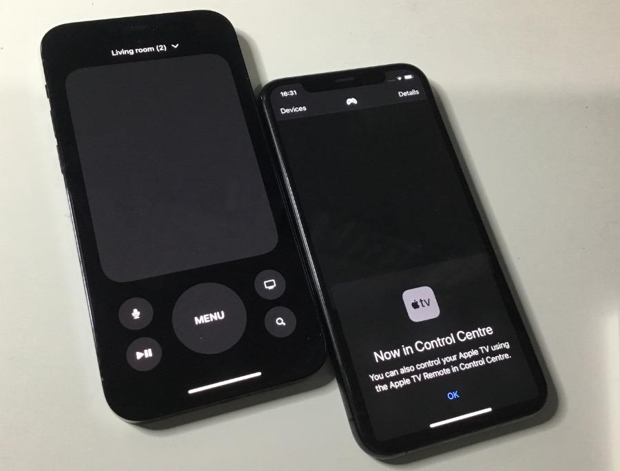 Izquierda: Control remoto en el Centro de control.  Derecha: la antigua aplicación Remote