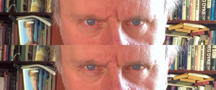 En uno, mira directamente a la cámara.  En el otro, está mirando la pantalla, pero Eye Contact está editando su imagen.