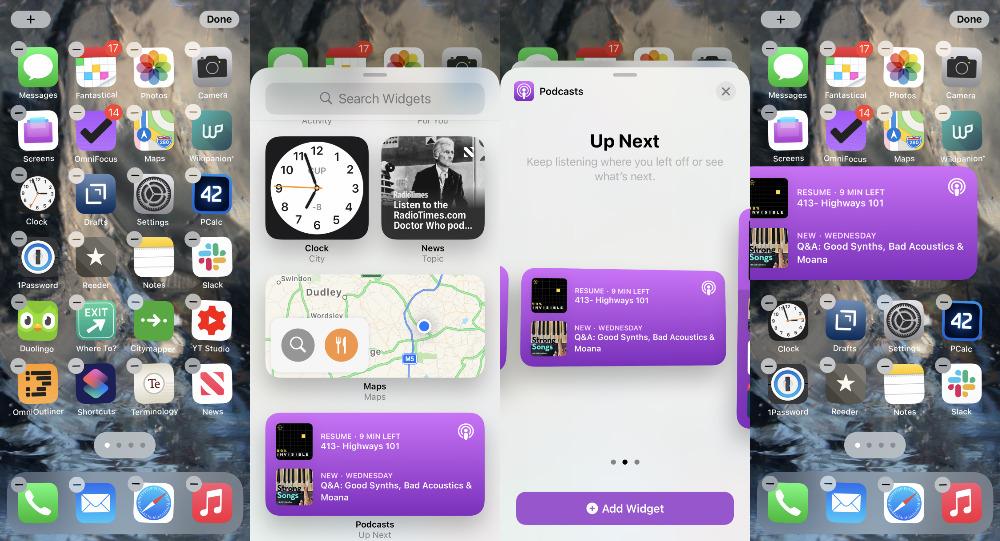 LR Agregue un widget editando la pantalla de inicio, eligiendo un widget, luego eligiendo un tamaño y posicionándolo