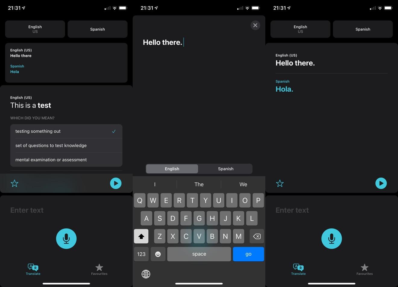 Pasando por una traducción simple en iOS 14 Aplicación de traducción.