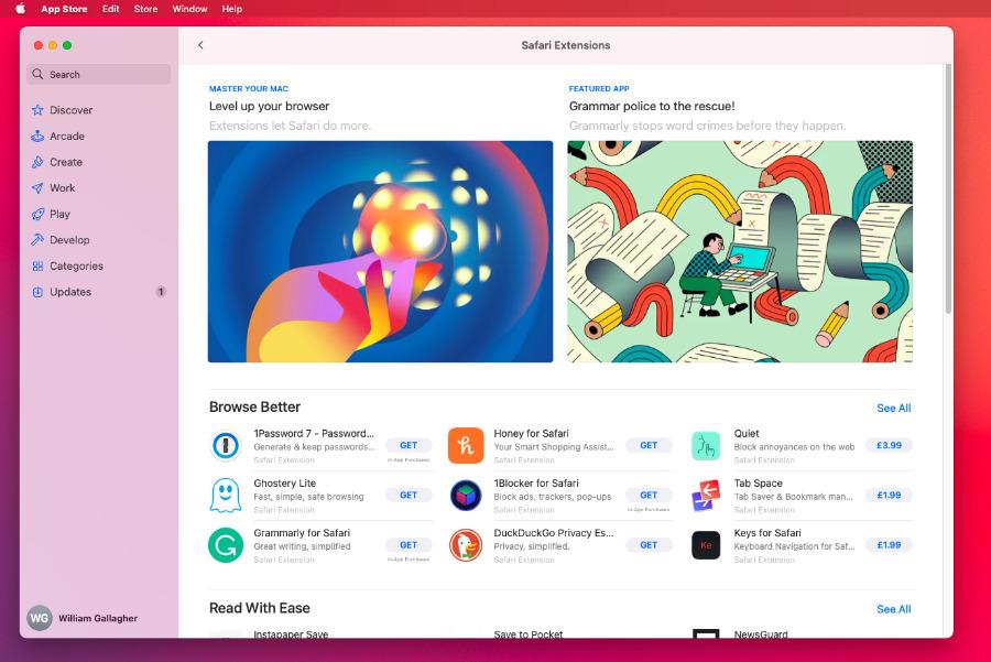 Al elegir el menú de Safari y luego las Extensiones de Safari, se abre la Mac App Store