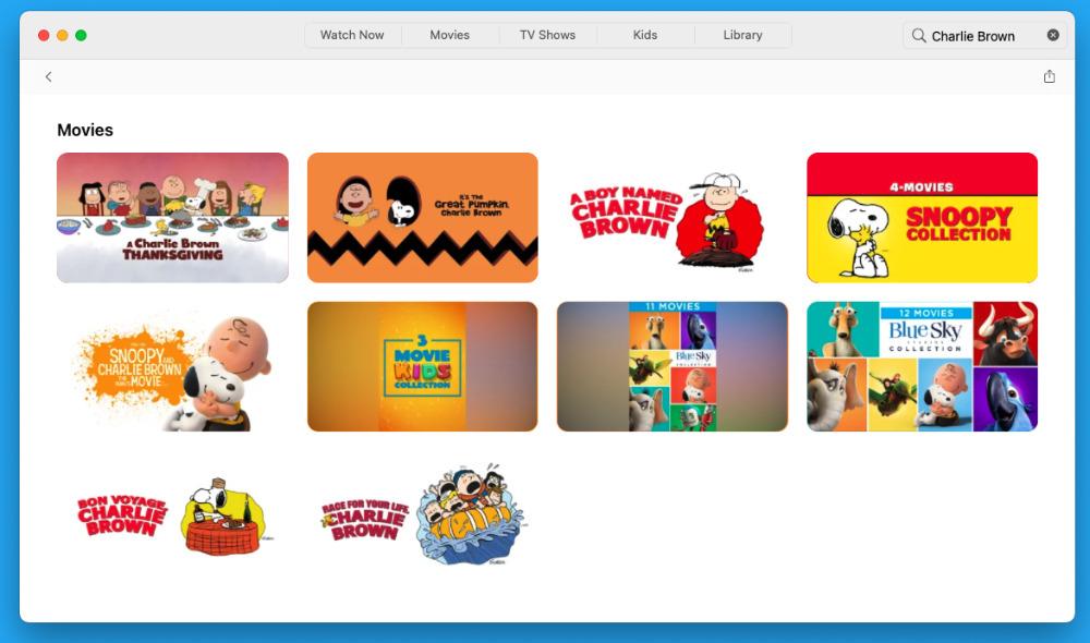 Especiales de Charlie Brown y películas en Apple TV +
