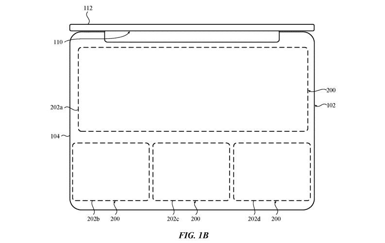 Áreas de la superficie principal de una MacBook que podrían definirse para un teclado o trackpad.