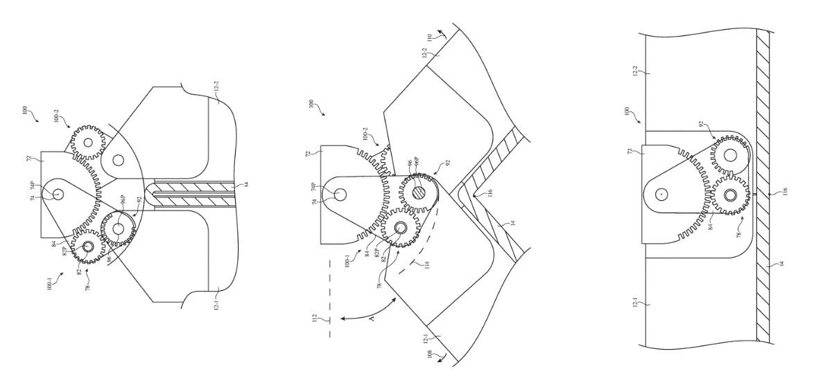 Tres extractos separados de los dibujos de la patente muestran (LR) una bisagra con engranajes que se mueve de plegada a desplegada.