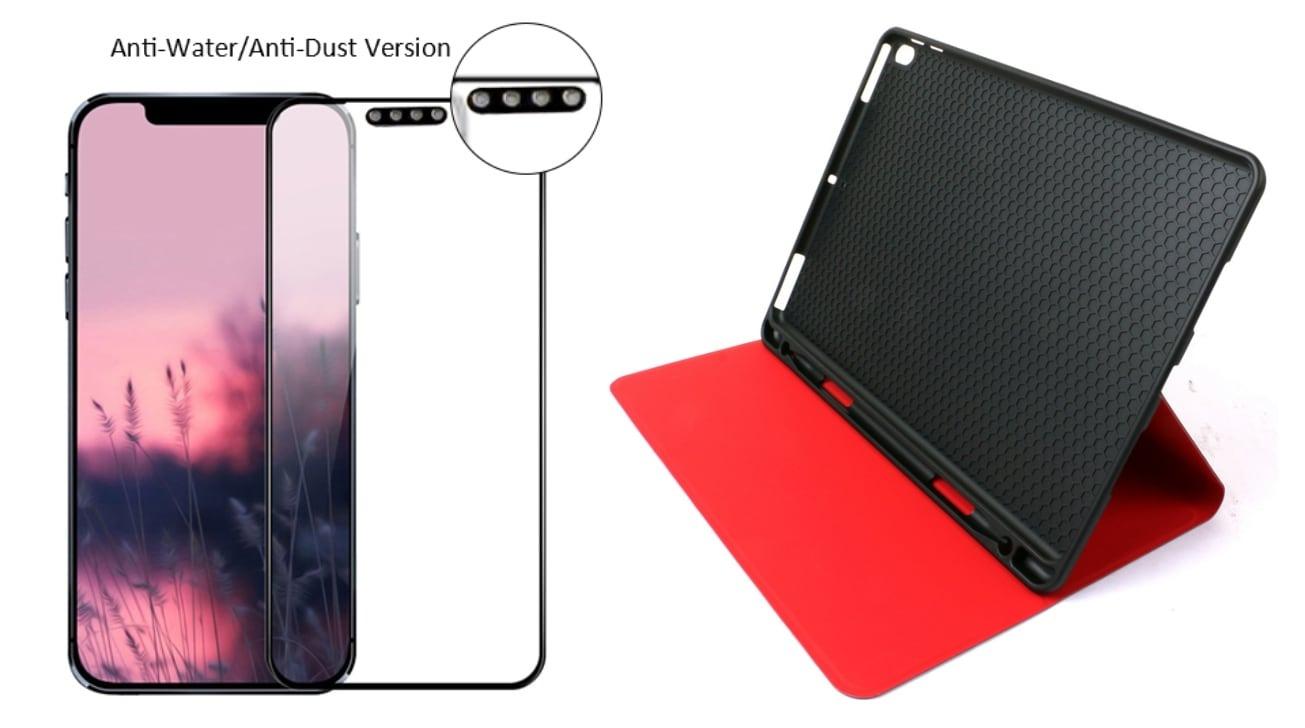 El iPhone de un productor de accesorios 12'protector de pantalla y '10.8funda para iPad de 1 pulgada