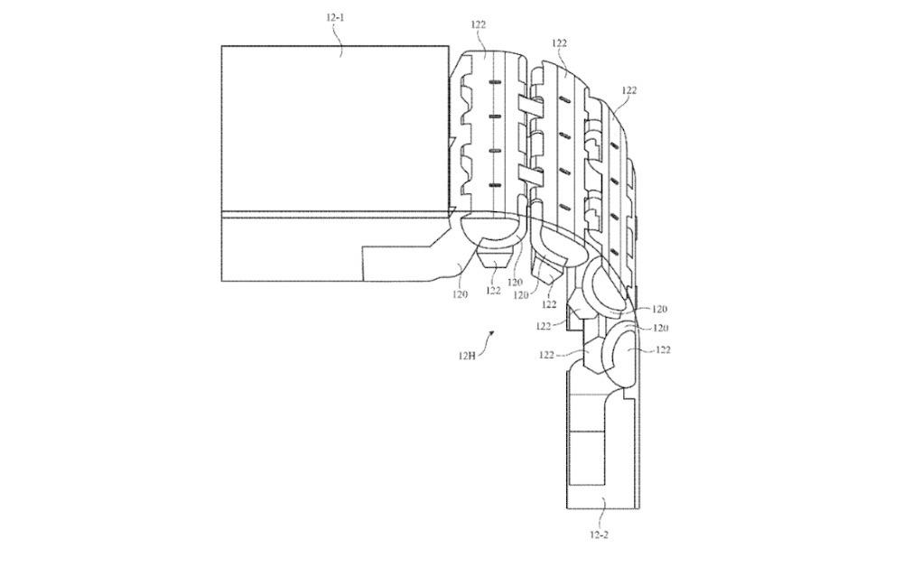 La estructura de bisagra multienlace descrita en la patente.  Crédito: Apple