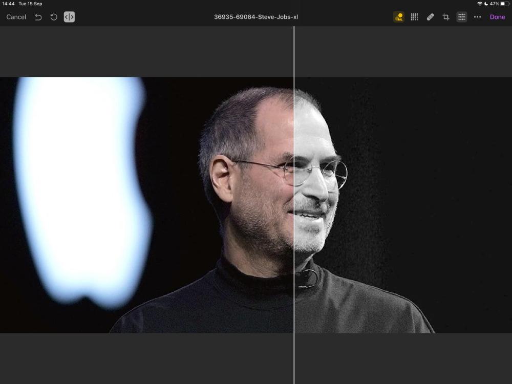 Las funciones de aprendizaje automático de Pixelmator Photo, como esta de ML Match Color, ahora tienen un control deslizante de comparación rápida para que pueda ver sus mejoras