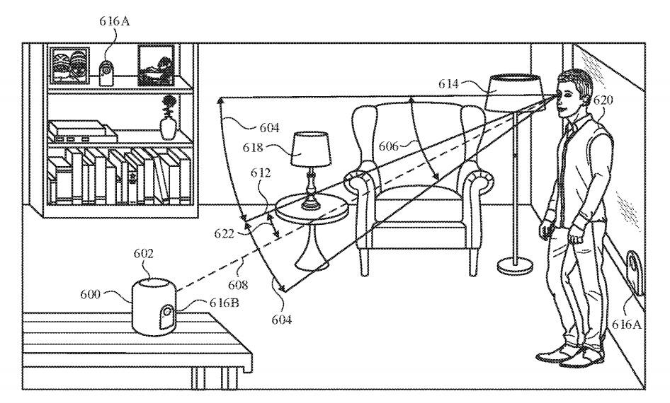 Un asistente digital para un HomePod podría potencialmente interpretar un comando solo si el usuario lo está mirando, sugiere la patente.